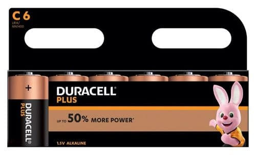 Duracell Plus Batteries Pack 6 - C Cell